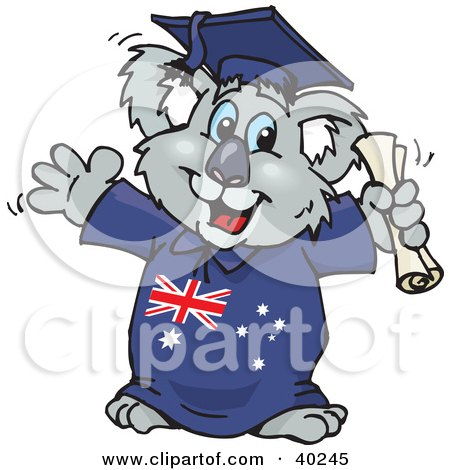Smart Graduating Koala In An Aussie Gown, Holding A Diploma Posters, Art Prints