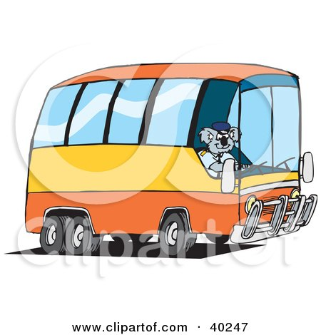 Clipart Illustration of a Koala Driver Driving A Public Bus by Dennis Holmes Designs