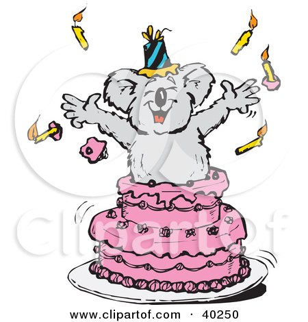Clipart Illustration of a Koala Popping Out Of A Pink Birthday Cake by Dennis Holmes Designs
