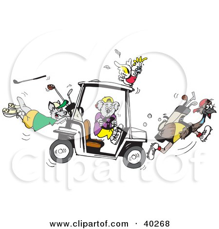 Clipart Illustration of a Koala Holding A Broken Steering Wheel Of A Golf Cart, Creating Chaos With His Cockatoo, Kangaroo And Emu Friends by Dennis Holmes Designs