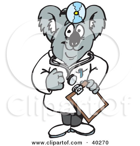 Clipart Illustration of a Koala Doctor Holding A Clipboard by Dennis Holmes Designs