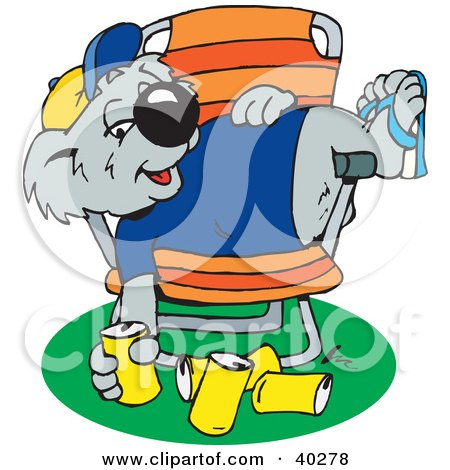 Clipart Illustration of a Lazy Drunk Koala Slumped In A Chair With Empty Beer Cans On The Ground by Dennis Holmes Designs