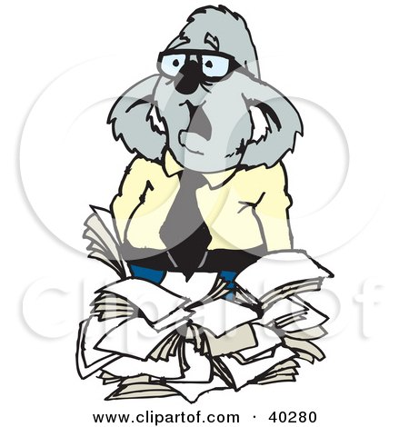 Clipart Illustration of an Overwhelmed Business Koala With A Stack Of Paperwork by Dennis Holmes Designs