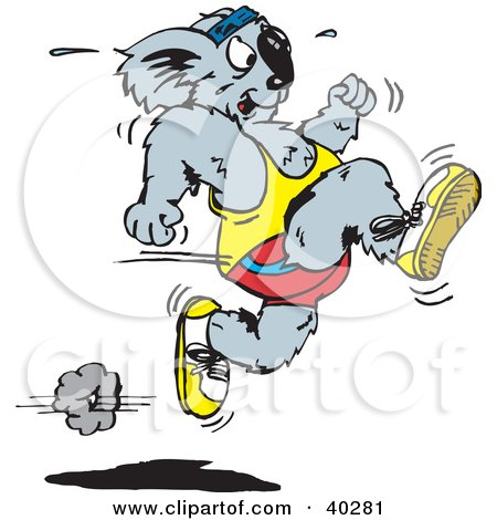 Clipart Illustration of a Fast Sprinting Koala by Dennis Holmes Designs