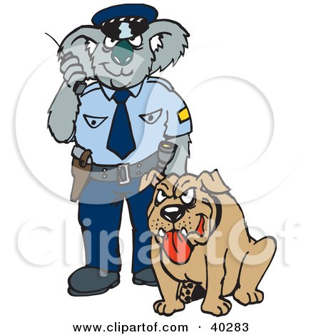 Clipart Illustration of a Koala Police Officer With A K9 Unit by Dennis Holmes Designs