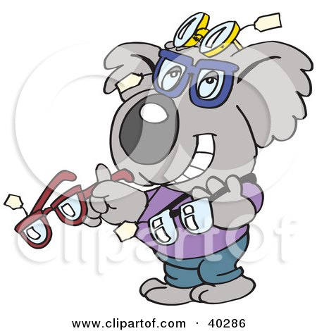 Clipart Illustration of a Koala Optometrist Displaying Glasses by Dennis Holmes Designs