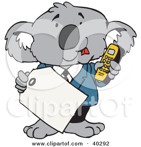 Clipart Illustration of a Koala Businessman Holding A Blank Price Tag And A Cell Phone by Dennis Holmes Designs