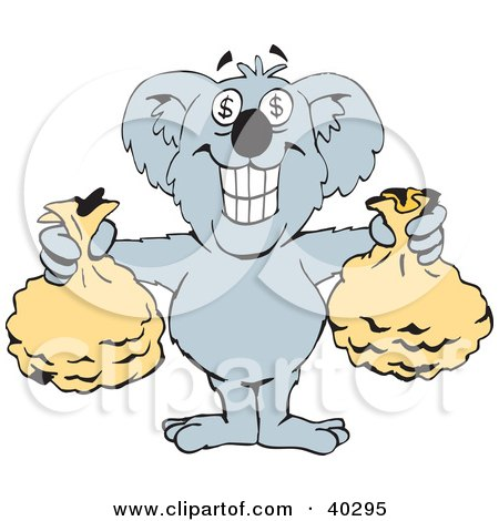 Clipart Illustration of a Wealthy Koala With Dollar Sign Eyes, Holding Two Money Bags by Dennis Holmes Designs