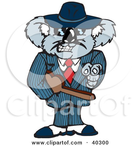 Clipart Illustration of a Mafia Koala Pointing And Carrying A Tommy Gun In A Violin Case by Dennis Holmes Designs
