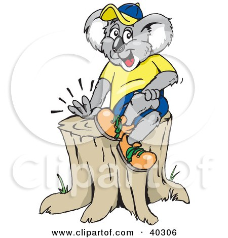 Clipart Illustration of a Koala Sitting On Top Of A Tree Stump by Dennis Holmes Designs
