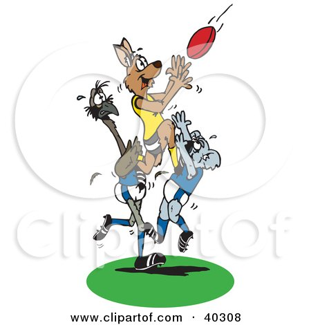 Clipart Illustration of a Kangaroo Jumping On A Koala And Emu To Catch A Rugby Football by Dennis Holmes Designs