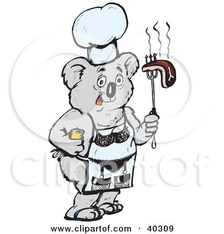 Clipart Illustration of a Koala Chef Holding Bbq Steak And Wearing A Lingerie Apron by Dennis Holmes Designs