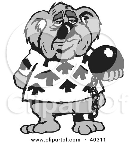 Clipart Illustration of a Criminal Koala Attached To A Ball And Chain by Dennis Holmes Designs