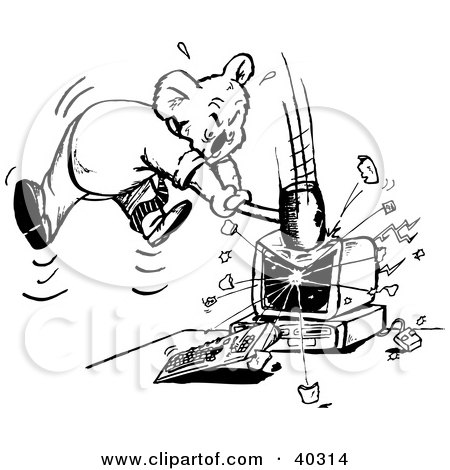Clipart Illustration of a Black And White Outline Of A Koala Smashing A Computer by Dennis Holmes Designs
