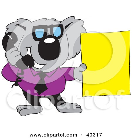 Clipart Illustration of a Koala Businessman Talking On A Phone And Holding A Blank Yellow Sign by Dennis Holmes Designs