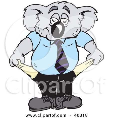 Clipart Illustration of a Broke Koala Businessman Turning Out His Empty Pockets by Dennis Holmes Designs