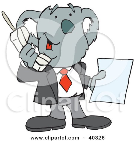 Clipart Illustration of a Koala Businessman Talking On A Portable Phone by Dennis Holmes Designs