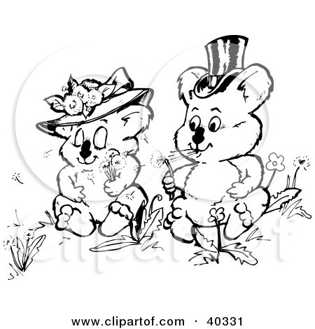 Clipart Illustration of a Black And White Coloring Book Page Of Courting Koalas Making Wishes With Dandelion by Dennis Holmes Designs