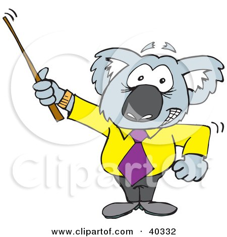 Clipart Illustration of a Koala Professor Using A Pointer Stick by Dennis Holmes Designs