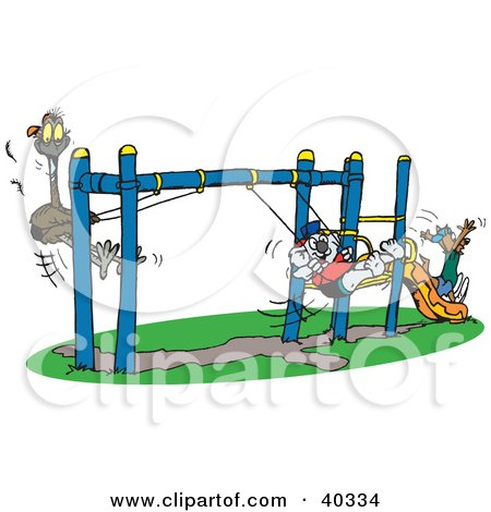 Clipart Illustration of a Koala Swinging With An Emu And A Kangaroo Going Down A Slide On A Playground At School Recess by Dennis Holmes Designs