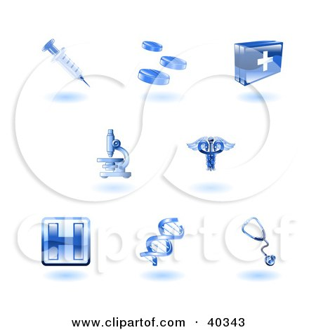 Shiny Blue Health Care Icons Posters, Art Prints