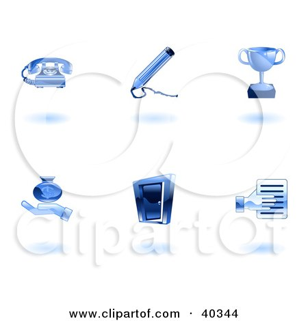 Clipart Illustration of Shiny Blue Business Icons by AtStockIllustration