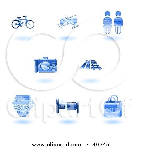 Clipart Illustration of Shiny Blue Tourist Icons by AtStockIllustration
