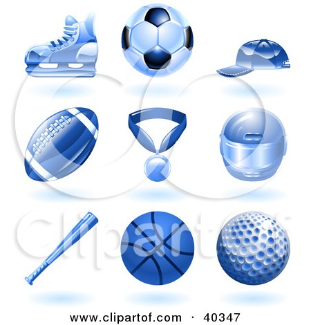 Shiny Blue Ball And Sport Icons Posters, Art Prints