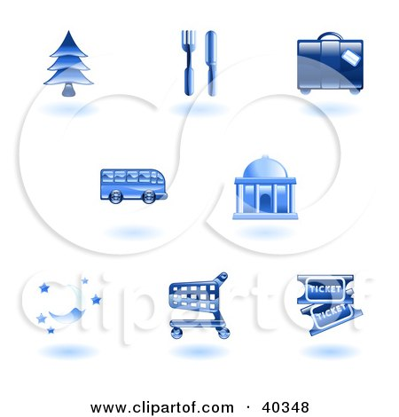 Clipart Illustration of Shiny Blue Travel Services Icons by AtStockIllustration