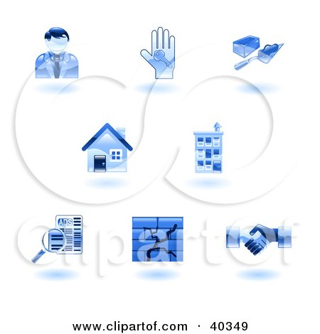 Clipart Illustration of Shiny Blue Real Estate Icons by AtStockIllustration