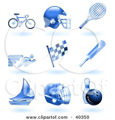 Clipart Illustration of Shiny Blue Athletics Icons by AtStockIllustration