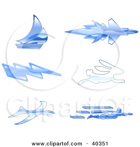 Clipart Illustration of Shiny Blue Fast Icons by AtStockIllustration
