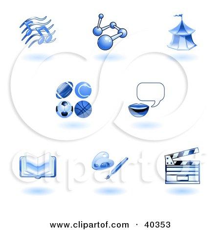 Clipart Illustration of Shiny Blue School Subject Icons by AtStockIllustration