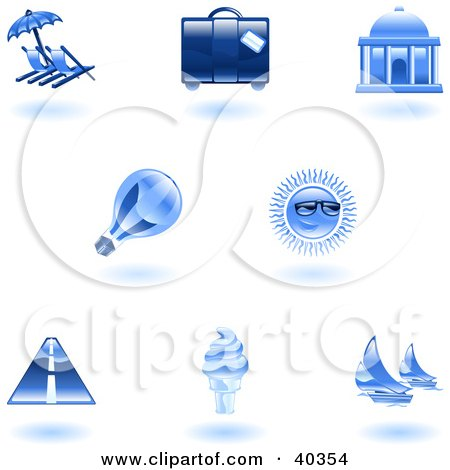 Clipart Illustration of Shiny Blue Travel And Tourism Icons by AtStockIllustration