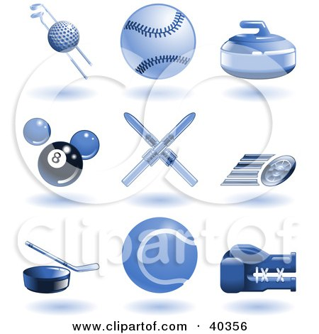Clipart Illustration of Shiny Blue Sports Icons by AtStockIllustration