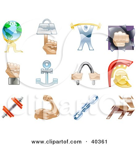 Clipart Illustration of Shiny Colorful Strength Icons by AtStockIllustration