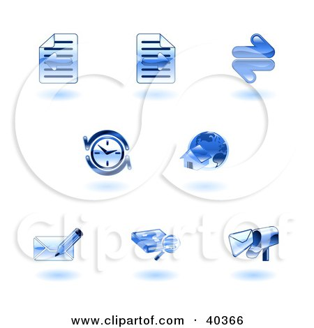Clipart Illustration of Shiny Blue Browser Icons by AtStockIllustration
