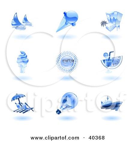 Clipart Illustration of Shiny Blue Summer Icons by AtStockIllustration