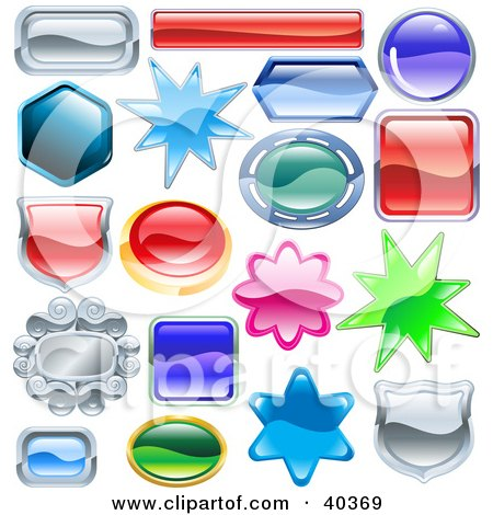 Clipart Illustration of Shield, Burst And Shaped Shiny Design Elements With Space For Text by AtStockIllustration