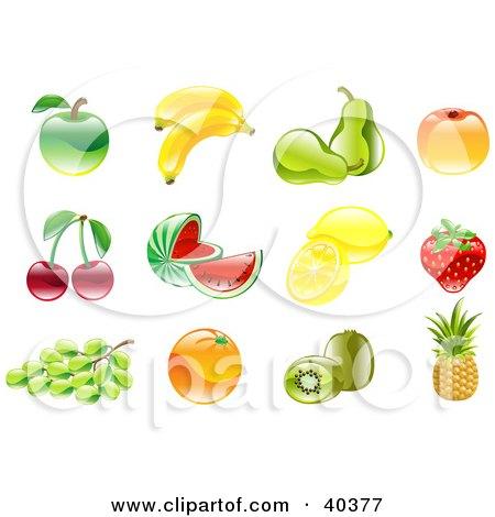 Clipart Illustration of Shiny Organic Fruit Icons by AtStockIllustration
