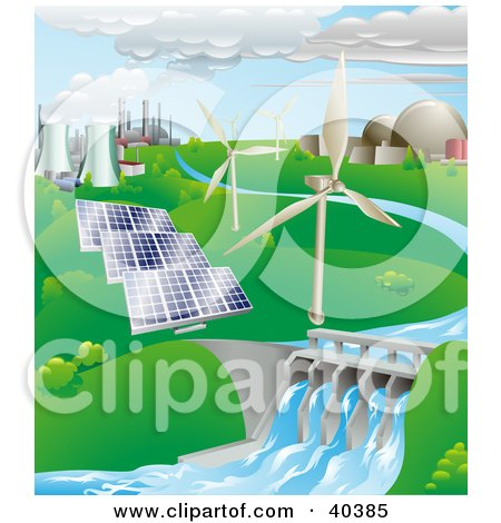 Nuclear, Fossil Fuel, Wind Power, Photovoltaic Cells, And Hydro Electric Water Power Generation Farms Posters, Art Prints