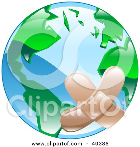 Clipart Illustration of a Bandaged Planet Earth by AtStockIllustration