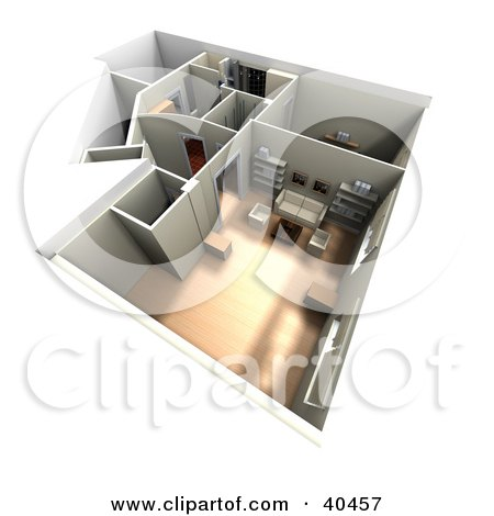 Clipart Illustration of a 3d Furnished Home Interior Floor Plan by Frank Boston