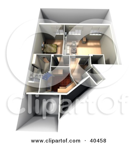Clipart Illustration of a 3d Home Interior Floor Plan With Furniture by Frank Boston