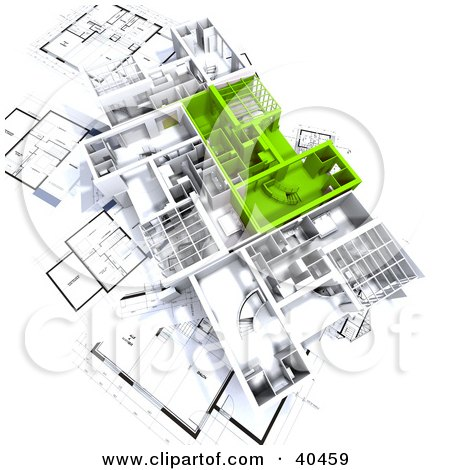 Clipart Illustration of Green And White 3d House Floor Plans On Blueprints by Frank Boston