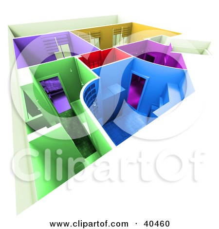 Clipart Illustration of a Colorful 3d Home Floor Plan With Different Colored Rooms by Frank Boston