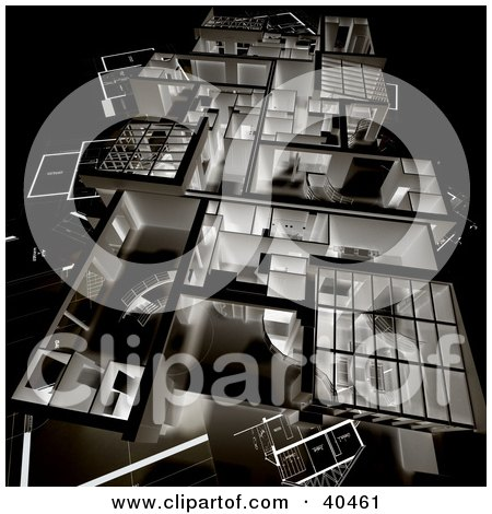 Clipart Illustration of a 3d Negative Home Floor Plan by Frank Boston