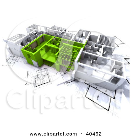 Clipart Illustration of Green And White 3d Home Floor Plans On Blueprints by Frank Boston