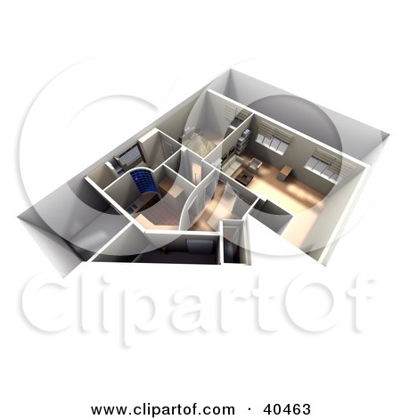 Clipart Illustration of a 3d Apartment Interior Floor Plan With Furniture by Frank Boston