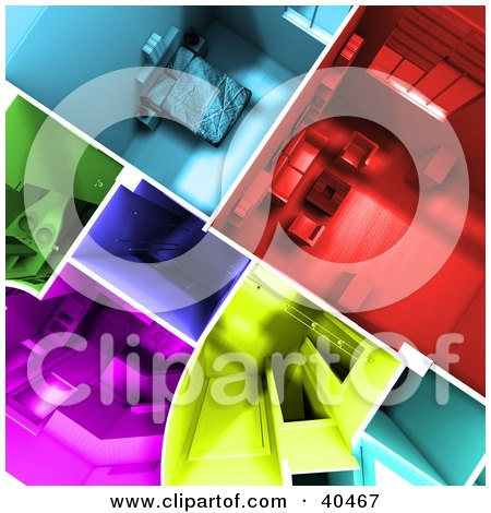 Clipart Illustration of an Aerial View of 3d Colorful Home Floor Plans by Frank Boston